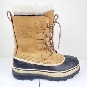 SOREL Caribou Shearling Waterproof Boots Tan Buff
